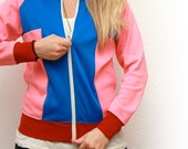 Women's small vintage gym jacket- hot pink, blue, maroon