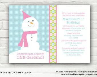 Snowman Invite: Custom DIY Printable Winter One-derland Invitation (First Birthday Girl or Boy)