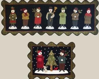 Seven Snowmen Snowman Penny Rug Wool Quilt Pattern All Through the Night