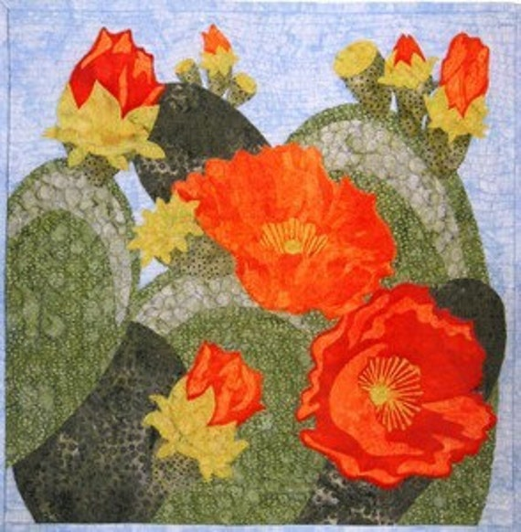 Prickly Pear in Bloom Cactus O Carol Morrissey Pattern
