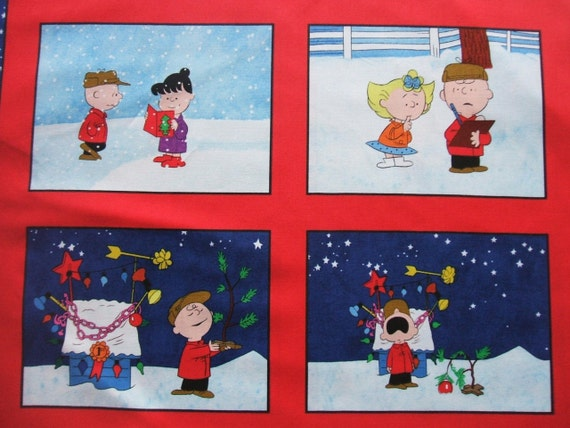 Charlie Brown Christmas Time Peanuts Quilting Treasures Fabric Panel