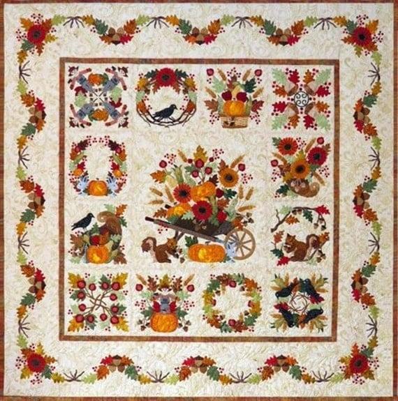 Baltimore Album Autumn Fall Applique 13 Block Month Quilt Pattern BOM P3 Designs