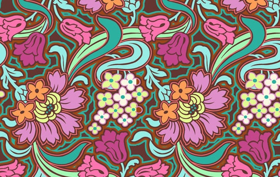 1 yard - Disco Flower in Chocolate - Soul Blossom by Amy Butler - Amy Butler Fabric