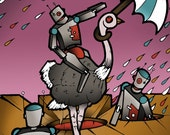 "Robot Ostrich Umbrella purple brown ""Onward"" Print 14x18 (LARGE GICLEE)"