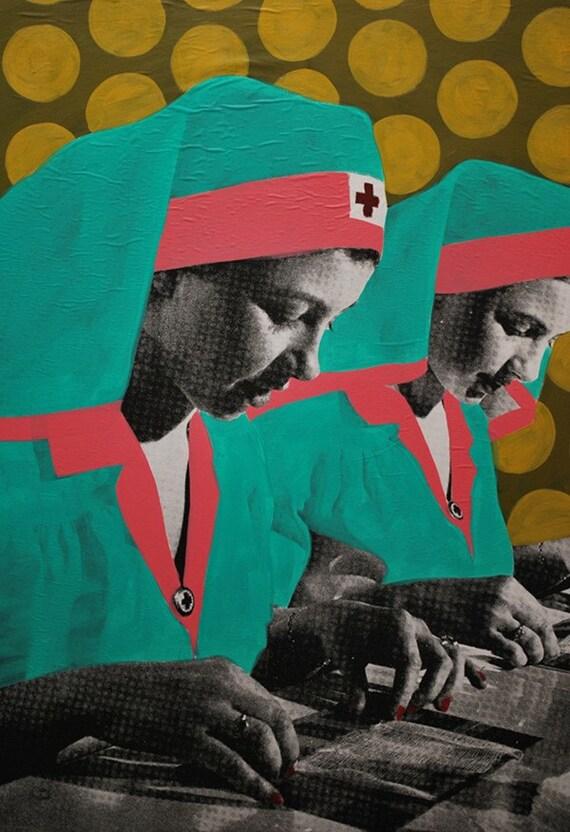 "Nurse Retro pink turquois ""Preparation"" 14x 21 Giclee Print"