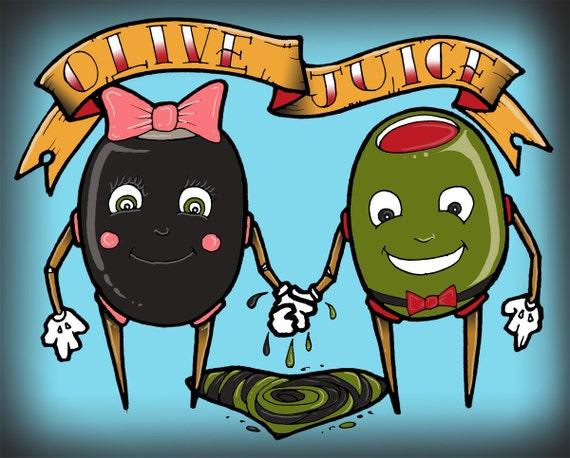 "Olive love black green bow blue banner ""Olive Juice"" 8x11 Print"