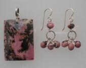 RHODONITE Pendant and Earrings
