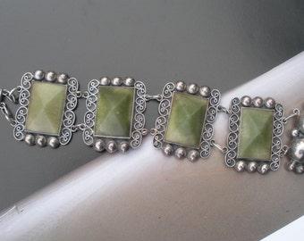 Mexico Green Agate Sterling Bracelet Big Bracelet for Small Wrist