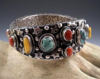 Vintage Coral Turquoise Amber Sterling Bracelet