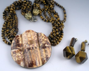 Carved Shell Tigereye Necklace Earrings 1960s