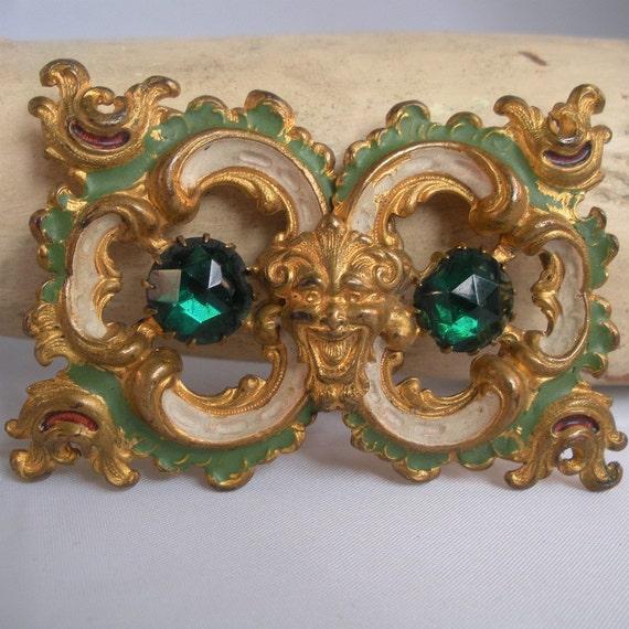 Antique Enamel and Rhinestone Sash Buckle with Fabulous Face