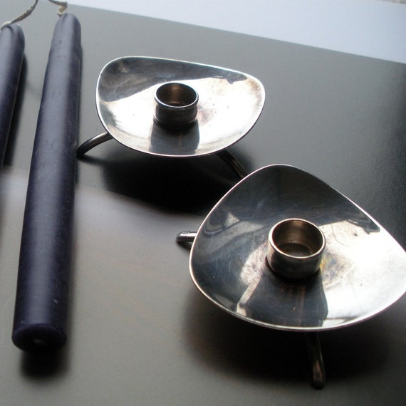 Danish Modern Sterling Candle Holders by Cohr Great  Wedding Gift