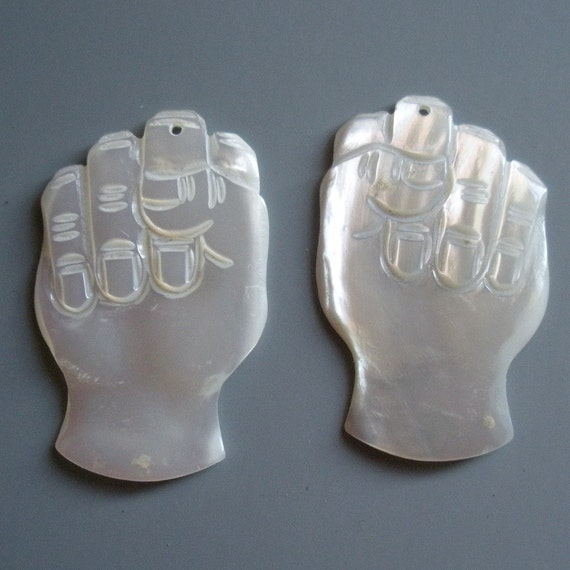 Vintage Carved Mother of Pearl Raised Fist Dangles