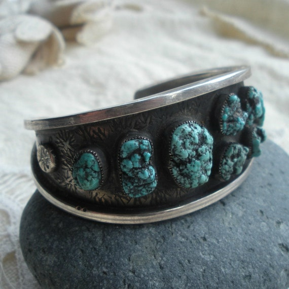 Sea Foam Turquoise and Sterling Bracelet