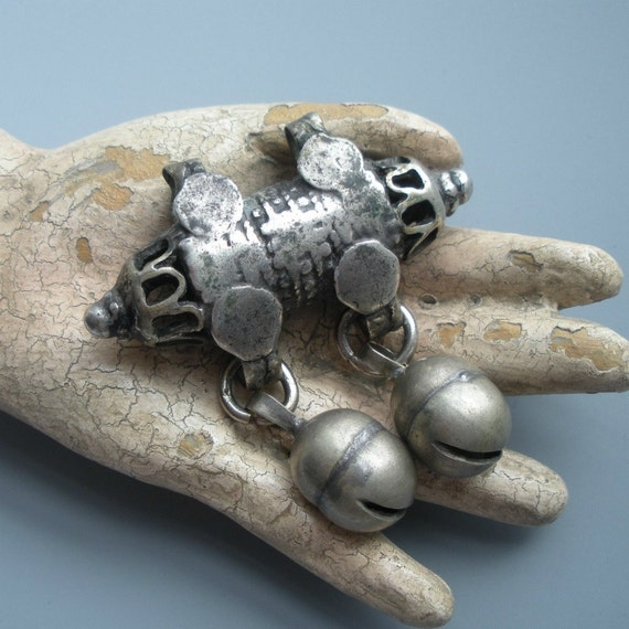 Ethnic Silver Amulet Pendant Bead with Bell Dangles