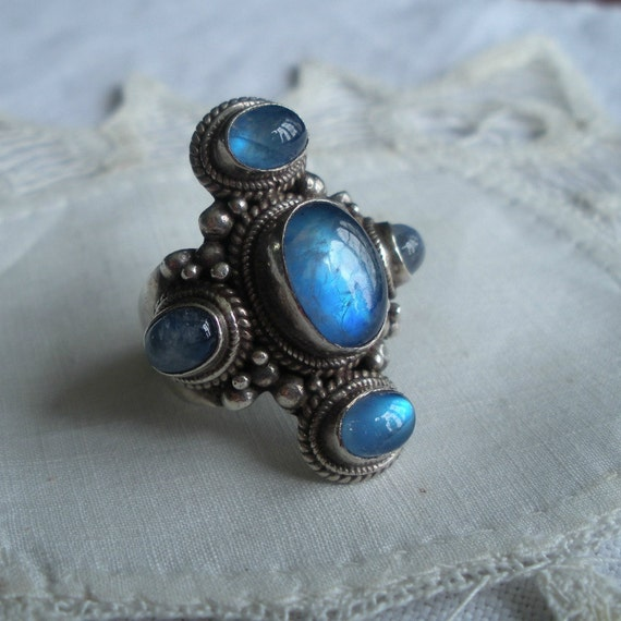 Moonstone and Sterling Ring Electric Blue Outstanding