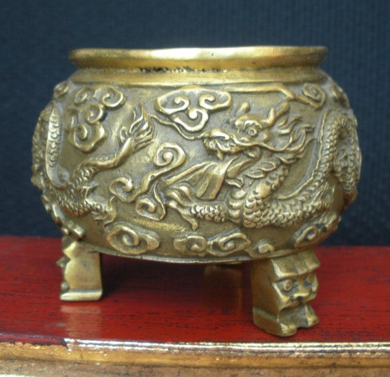 Brass Dragon Bowl with Mask Legs
