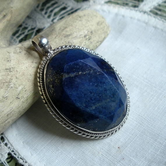 Lapis and Sterling Pendant Faceted