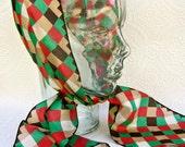 Vintage Silk Harlequin Scarf