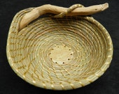 Coiled pine needle bowl with driftwood and fern ceramic bottom