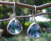 blue sapphire glass drop earrings ( in silver )
