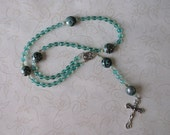 Blue green Catholic rosary with swirls - needs a good home, more than 50% off
