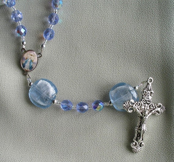 June Birthstone Rosary in Alexandrite Glass Beads