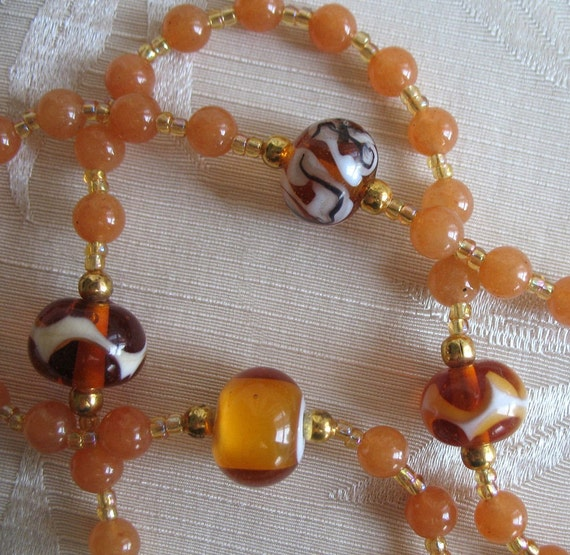 Autumn colors rosary with peach aventurine - apple cider, Needs a good home, more than 50% off