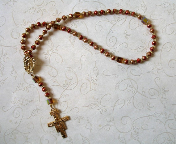Red and Gold Festive Rosary with Miraculous Medal and San Damiano Cross - Needs a home, over 50% off