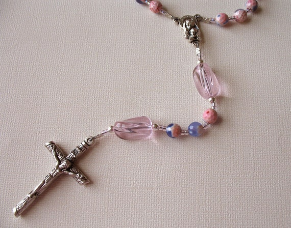 Pink and Purple Catholic Rosary with Dyed Agate Beads