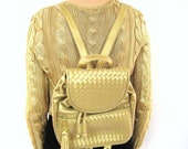 40% OFF SALE Woven Gold Backpack Tassel Fringe