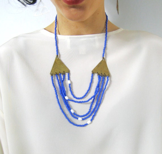 Cornflower Blue Mexican Triangles Beaded Necklace