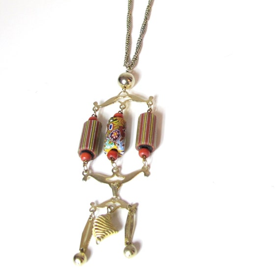70s Gypsy Desert Tiered Glass Beads Long Necklace