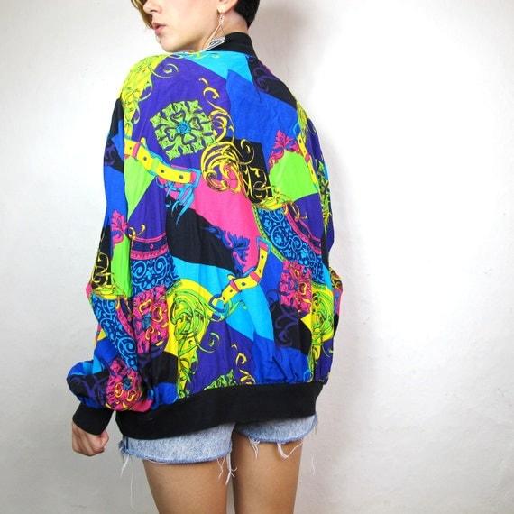 80s Royal Colorful Print Bomber Jacket L