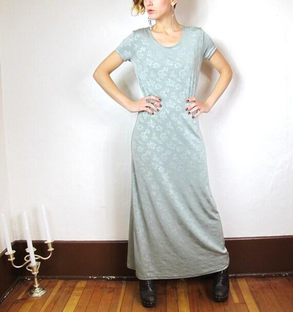90s Grunge Slinky Floral Maxi Tshirt Dress (XS/S)