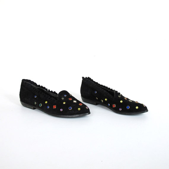 S A L E 80s Bedazzled Ruffle Black Suede Flats (8)