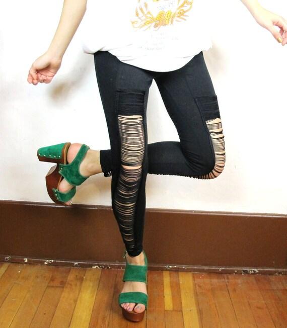Black Shredded Rocker Leggings (XS/S)