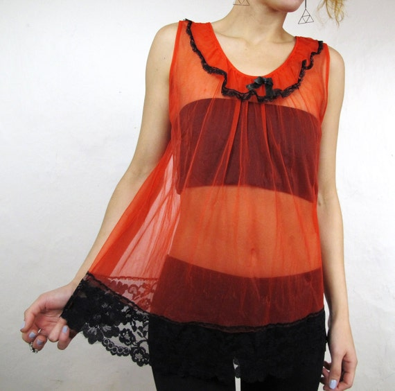 25% OFF SALE 70s Romantic Sheer Red Lace Babydoll Tank (S/M)