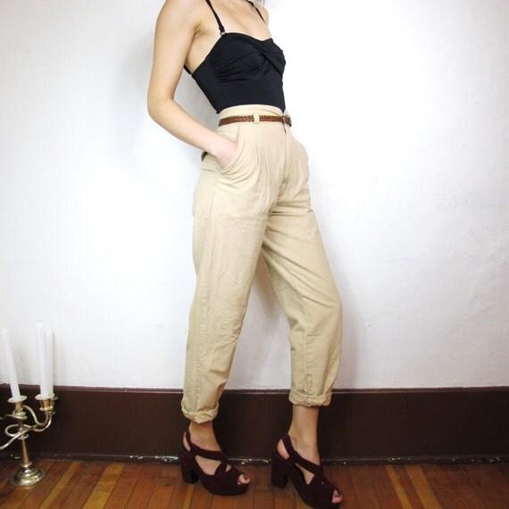 S A L E 80s Khaki High Waist Pants (XS)