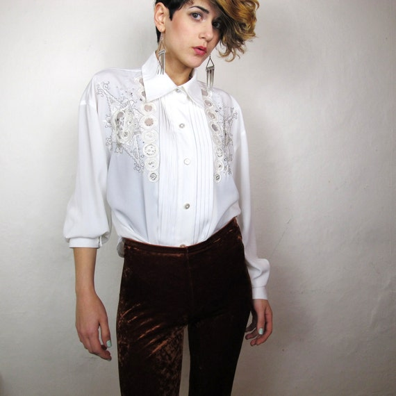 80s Sparkle and Pearl Beads Fancy Pleated Blouse (L/XL)