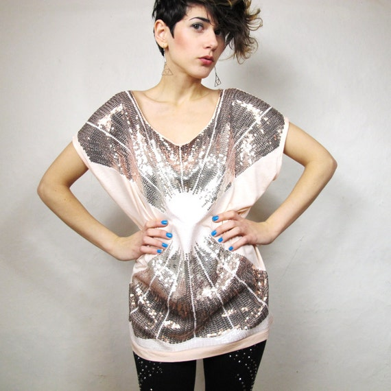 Gilded Pink Sequin Starburst Shirt (S/M) Reserved for Chrysm