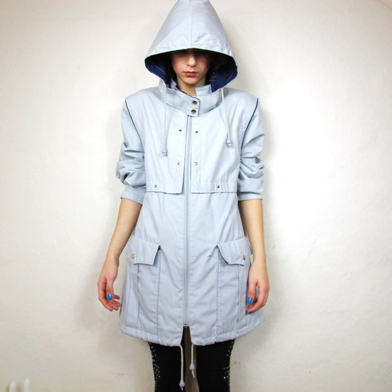 SALE 80s Light Grey Studded Coastal Jacket with Removable Hood (M/L) Featured on Etsy Home Page