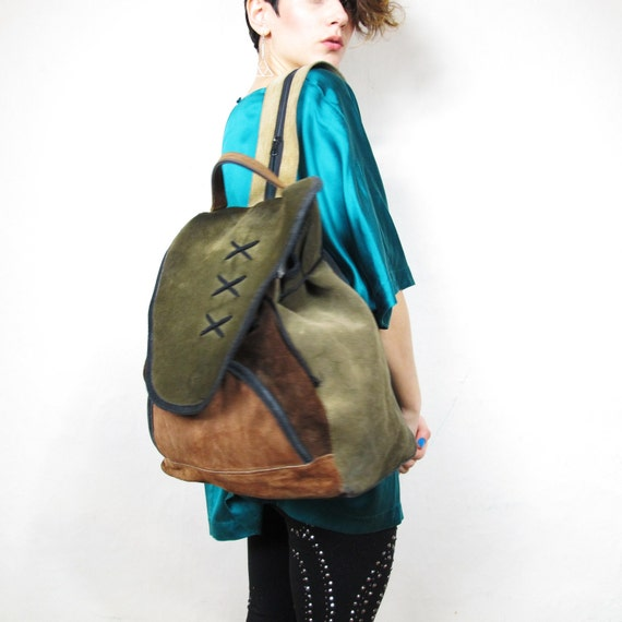 S A L E Color Blocked Suede Large School Backpack
