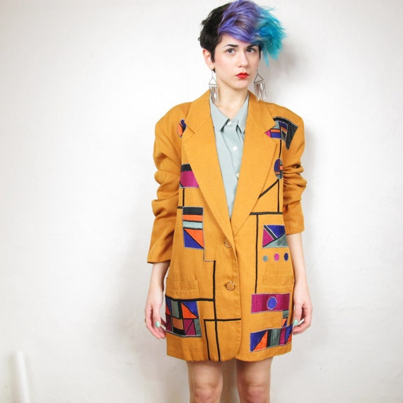 S A L E 80s Colorful Pop Art Embroidered Orange Blazer (L/XL)