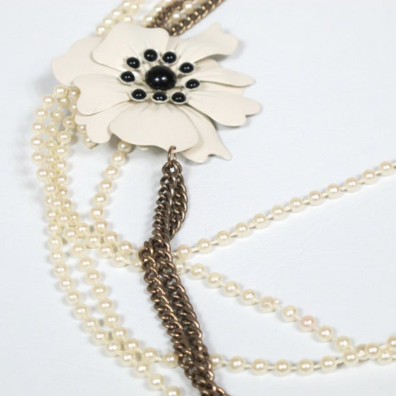 Flower Child Cream Pearl and Brass Chain Layered Necklace