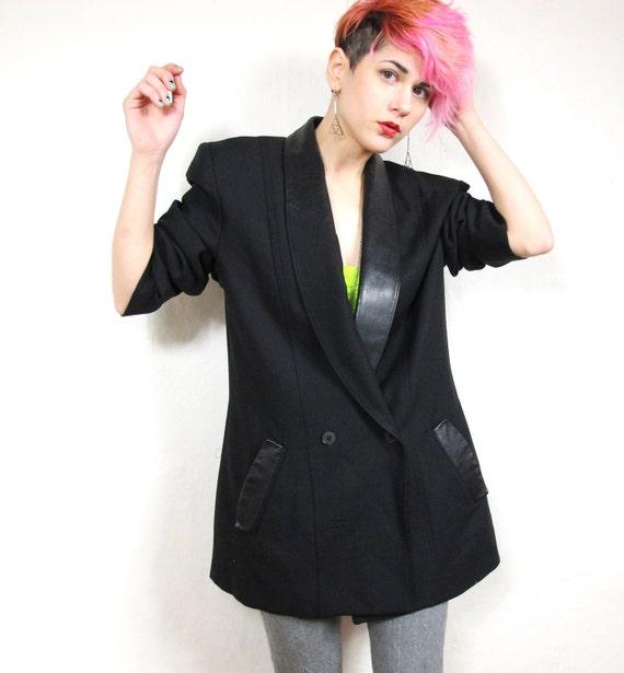 80s Minimalist Black Wool Tuxedo Blazer with Leather Collar (M/L)