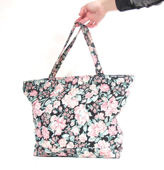 S A L E 90s Girly Grunge Large Quilted Floral Tote Bag