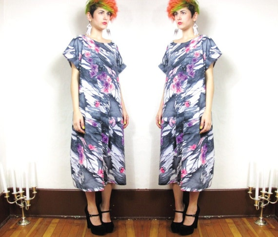 Fantasyland Watercolor Floral Graphic Kaftan Dress  (L/XL)
