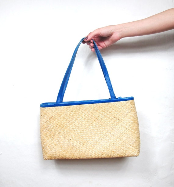 60s Woven Straw and Blue Leather Purse
