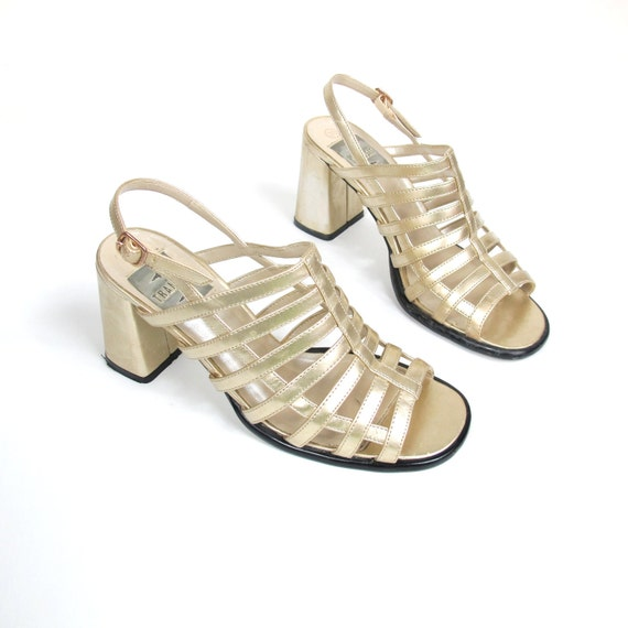 S A L E 90s Gold Cage Chunky Gladiator Heels (8.5)